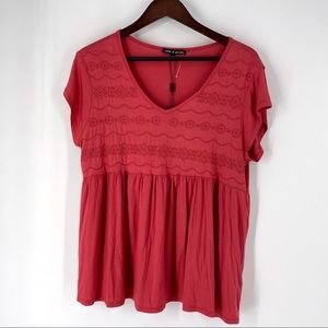 Cable & Gauge Coral XL Babydoll Tunic Top